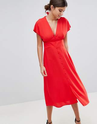 Asos DESIGN Button Through Midi Dress with Bow Back Detail