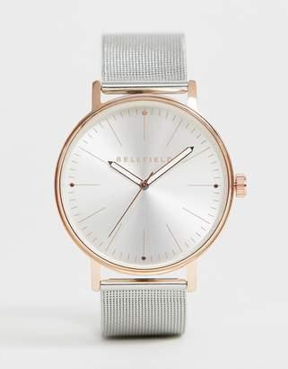 Bellfield mens silver mesh bracelet watch with rose gold tone case