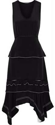 Derek Lam Asymmetric Silk-Satin Peplum Dress