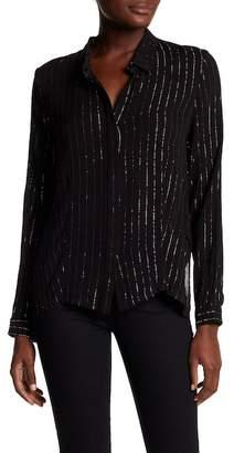 Tea & Cup Metallic Stripe Long Sleeve Collar Shirt