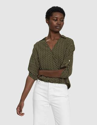 Stelen Lacie Polka Dot Wrap Top in Olive
