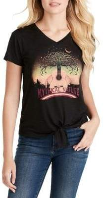 Jessica Simpson Maya Tie-Front Graphic Short-Sleeve Tee