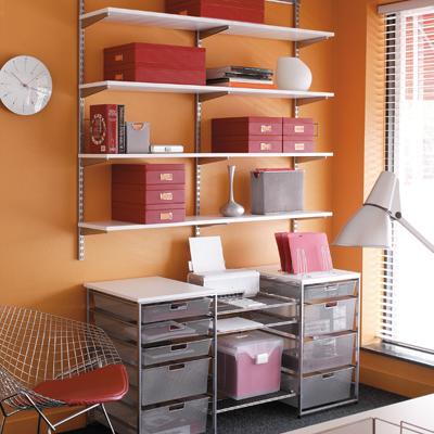 Elfa White & Platinum Home Office Storage