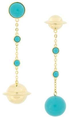 Eshvi Astro turquoise drop chain earrings