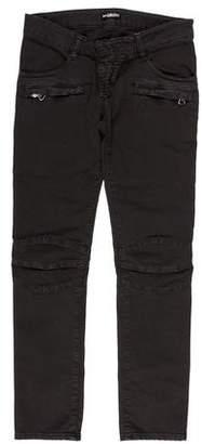 Balmain Low-Rise Moto Jeans w/ Tags