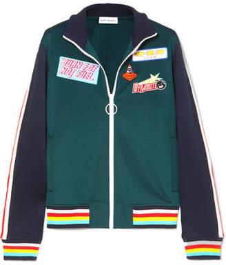 Mira Mikati Striped Appliquéd Stretch Scuba-jersey Track Jacket - Petrol
