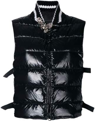 Ermanno Scervino embellished sleeveless puffer jacket
