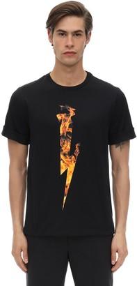 Neil Barrett Flame Bolt Print Cotton Jersey T-shirt