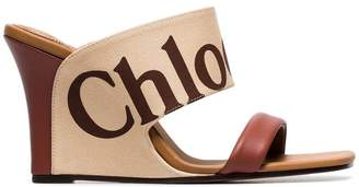 Chloé brown 90 leather logo wedges