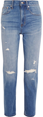 Madewell - The Perfect Vintage Distressed High-rise Straight-leg Jeans - Mid denim $135 thestylecure.com
