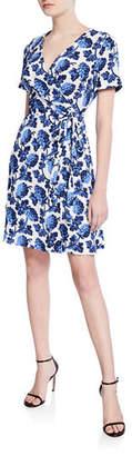 Diane von Furstenberg Savilla Floral-Print Surplice Mini Wrap Dress