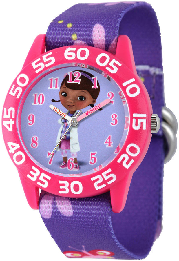 DISNEY Disney Doc McStuffins Kids Time Teacher Purple Nylon Strap Watch