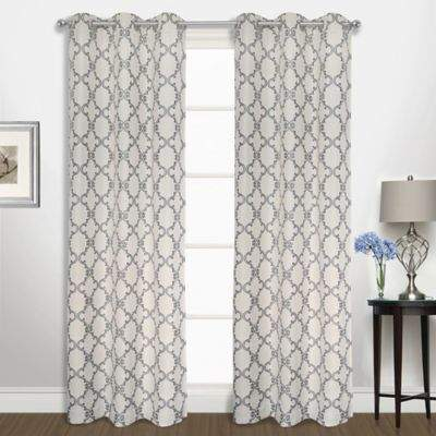 Buy Georgia 63-Inch Grommet Top Window Curtain Panel Pair in Navy!