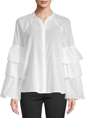 BCBGMAXAZRIA Women's Tiered Cotton Blouse