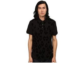 Just Cavalli Short Sleeve Pique Polo w/ Flocked Leopard Men's Short Sleeve Pullover