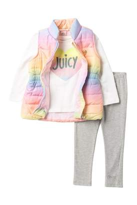 Juicy Couture Heart Tee, Rainbow Puffer Vest & Leggings Set (Toddler Girls)