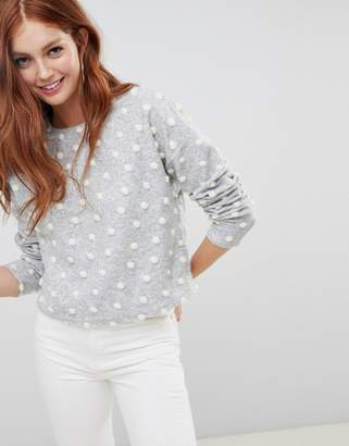 New Look brushed sweater with polka dot pom poms in gray