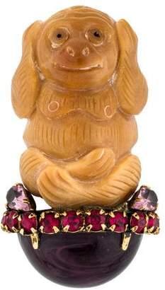 Iradj Moini Tree Nut, Crystal, & Glass Carved Monkey Brooch