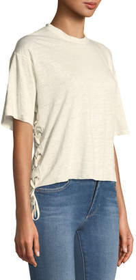 KENDALL + KYLIE Lace-Up Linen Boxy Tee