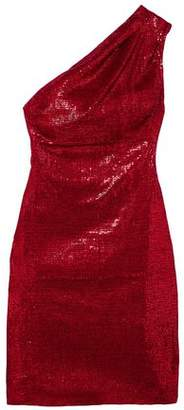 HANEY Valentina One-shoulder Sequined Stretch-tulle Mini Dress