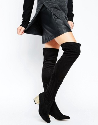 Asos Kailis Detailed Heeled Over The Knee Sock Boots