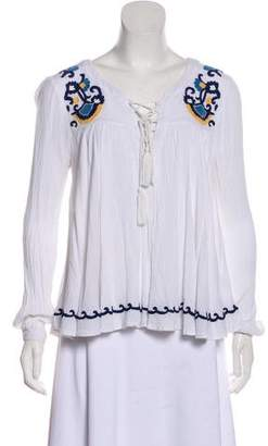 Lovers + Friends Embroidered Long Sleeve Top