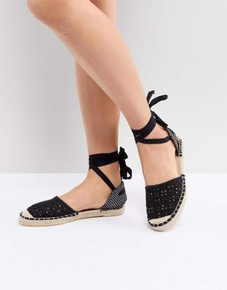 New Look Lazer Cut Ankle Tie Espadrille
