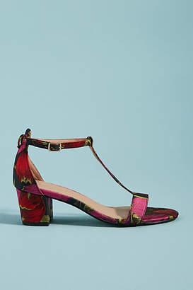 Anthropologie Brocade T-Strap Heeled Sandals