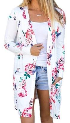 YONYWA Women Long Sleeve Floral Print Fashion Coats Spring Autumn