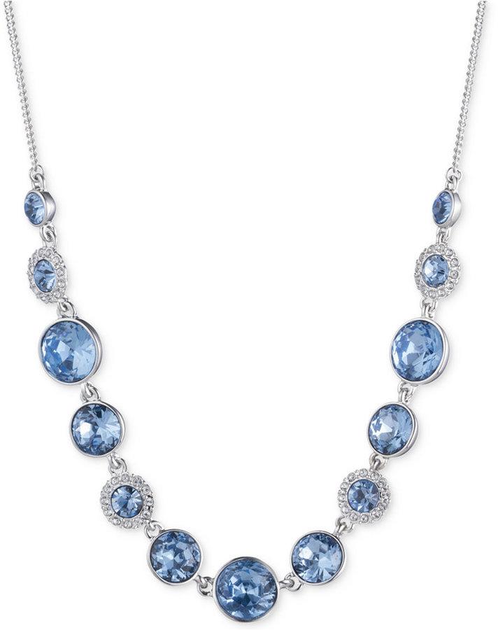 GivenchyGivenchy Silver-Tone Blue Crystal Collar Necklace