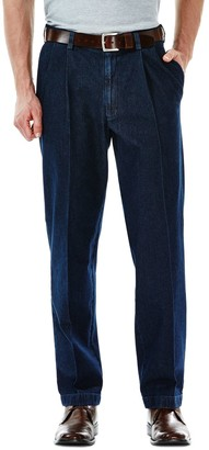 Haggar Big & Tall Work to Weekend Classic-Fit Pleated Denim Pants