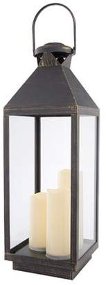 Darice Distressed Lantern with LED Candles: Black/Gold, 8.07 x 24.02 inches