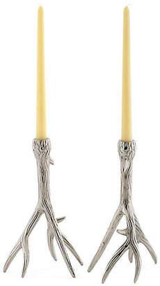 One Kings Lane Set of 2 Tree-Branch Candlesticks - Silver