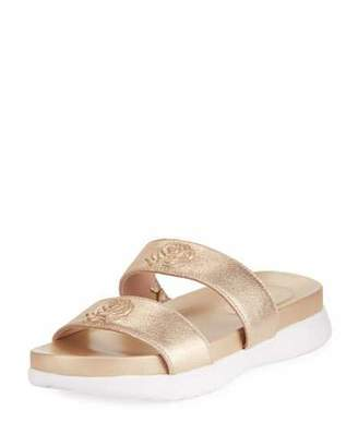 Taryn Rose Ina 2-Band Metallic Leather Slide Sandal