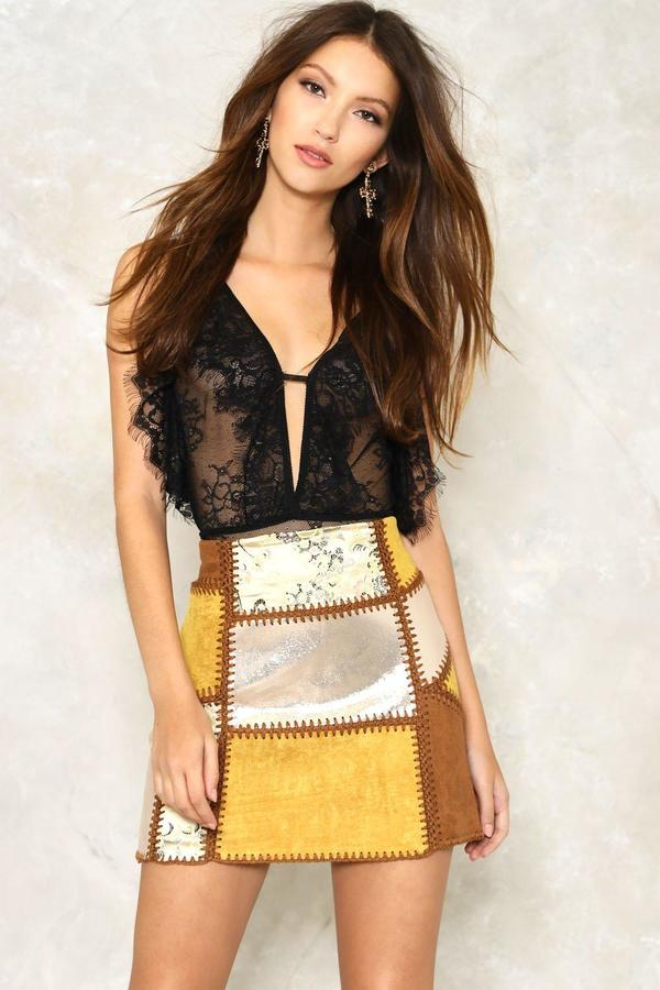 nastygal Patch You Later Vegan Suede Skirt