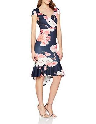 Quiz Women's Dress Cocktail Floral Short Sleeve Skirt,(Manufacturer Size:)