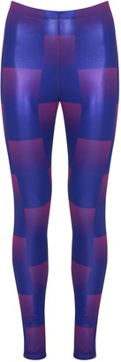 Manon Planche Purple Check Printed Leggings