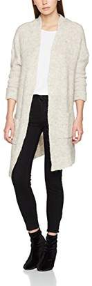 Vero Moda Women's Vmhelen Ls Long Open Cardigan Cardigan, Grey (Light Melange Detail:with Snow White), (Manufacturer Size: Small)