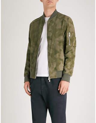 Eleventy Camouflage-print suede bomber jacket