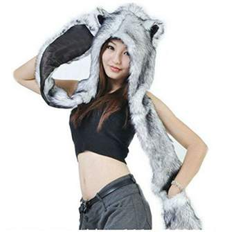 TITANIC HOBBIES HUSKY Full Animal Hoodie Hat 3-in-1 Function Faux FUR