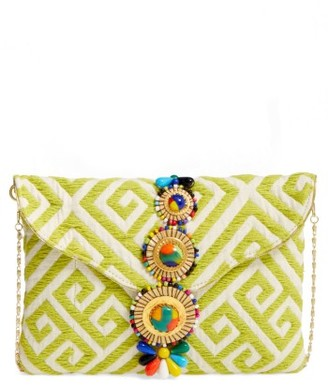 Steven By Steve Madden Beaded & Embroidered Clutch - Yellow $75 thestylecure.com