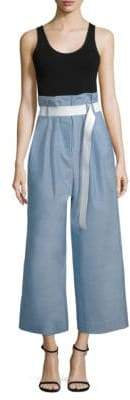 Tibi Cropped Pleated Wool Paperbag Pants