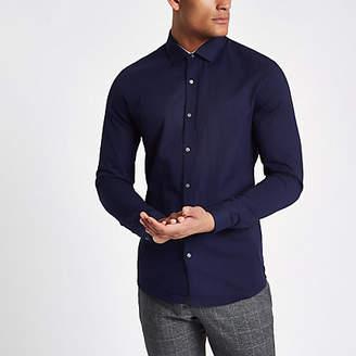 River Island Mens Navy slim fit long sleeve twill shirt