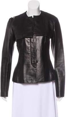 Donna Karan Button-Up Leather Jacket