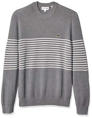 0573347a Lacoste Men's Long Sleeve Rib Cotton with Striped Center Sweater