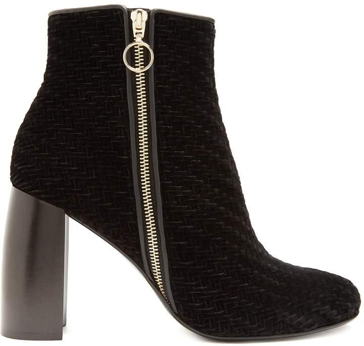 STELLA MCCARTNEY Block-heel woven-velvet ankle boots