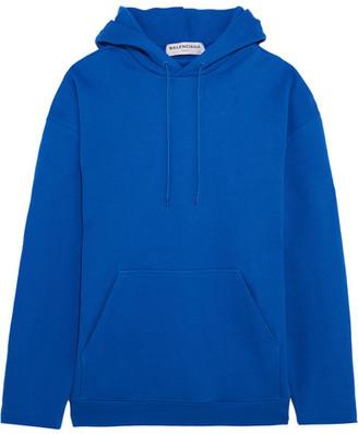 Balenciaga - Oversized Cotton-terry Hooded Top - Blue