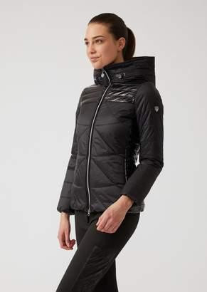 Emporio Armani Ea7 Windproof Padded Technical Fabric Jacket With Premium Zip