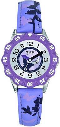 Trendy Kiddy KL143 Girls Watch Quartz Analogue Multicolour Dial Purple Leather Strap