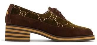 056d684c897 COM · Gucci Thompson Logo Jacquard Velvet Derby Shoes - Womens - Brown